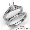 Pave Diamond Engagement Ring Emerald SemiMount Bridal Set 14k White Gold 0.9Ct - javda.com
