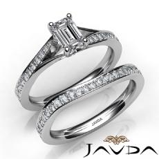 Modern Split Shank Bridal Set Emerald diamond  Ring in 14k Gold White