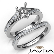 Pave Diamond Engagement Ring Heart Semi Mount Bridal Set 14K White Gold 0.90Ct.