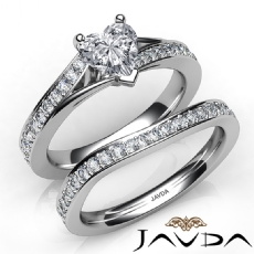 Pave Sidestone Bridal Set Heart diamond engagement valentine's deals in 14k Gold White
