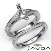 Pave Diamond Engagement Ring Marquise Semi Mount Bridal Set 14k White Gold 0.9Ct - javda.com