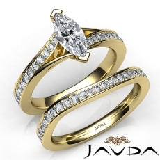Pave Side-Stone Bridal Set Marquise diamond engagement Ring in 14k Gold Yellow