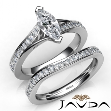 Pave Side-Stone Bridal Set Marquise diamond engagement Ring in 14k Gold White