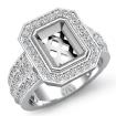 1.62Ct Diamond Engagement Ring 14k White Gold Emerald Semi Mount Halo Setting - javda.com