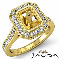 Diamond Engagement Ring Emerald Semi Mount Halo Setting 14k Gold Yellow (0.5Ct. tw.)