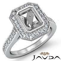 0.50Ct Diamond Engagement Ring Emerald Semi Mount Halo Setting 14k White Gold