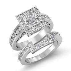 Channel Halo Bridal Set Princess diamond engagement Ring in 14k Gold White