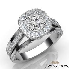 Milgrain Edge Halo Pave Set Round diamond engagement Ring in 14k Gold White