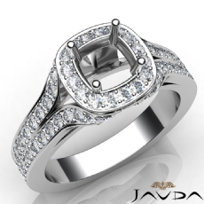 Diamond Engagement Halo Pave Setting Round Semi Mount Ring 14K White Gold 1.40Ct