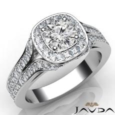 Designer Anniversary Halo Round diamond engagement Ring in 14k Gold White
