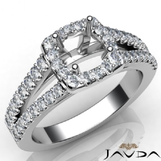 Gorgeous Halo Prong Diamond Engagement Round Semi Mount Ring 14K W Gold 0.75Ct