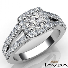 U Cut Prong Split Shank Halo Round diamond engagement Ring in 14k Gold White