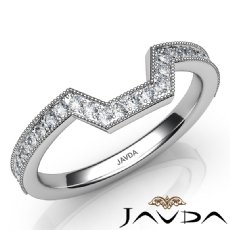 Round Diamond Women's Milgrain Band Engagement 2.6mm Ring 14k White Gold 0.50Ct