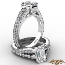 French U Cut Pave Split Shank diamond Ring 14k Gold White
