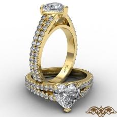 French U Cut Pave Split Shank diamond Ring 14k Gold Yellow
