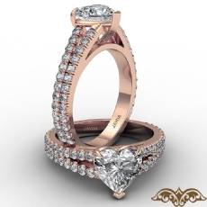 French U Cut Pave Split Shank diamond Ring 14k Rose Gold