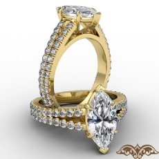 French U Cut Pave Split Shank Marquise diamond  Ring in 14k Gold Yellow