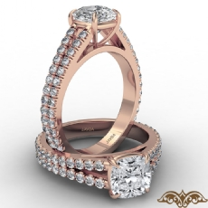 French U Cut Pave Split Shank diamond Ring 18k Rose Gold