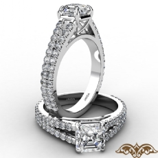 French U Cut Pave Split Shank Asscher diamond  Ring in 14k Gold White