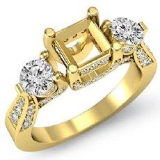 Round Diamond Three 3 Stone Engagement Ring Asscher Semi Mount 18k Gold Yellow  (1.2Ct. tw.)