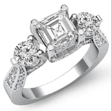 Vintage Style 3 Stone Asscher diamond engagement Ring in 14k Gold White