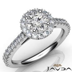 Halo French Cut Sidestone Round diamond engagement Ring in 14k Gold White