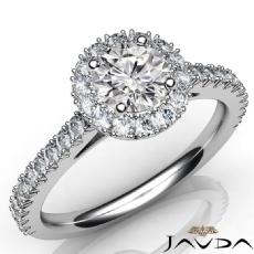 French V Cut Pave Set Halo Round diamond  Ring in 14k Gold White