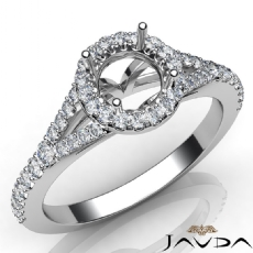 Diamond Engagement 14K White Gold Halo Pave Setting Round Semi Mount Ring 0.50Ct