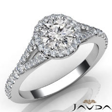 U Pave Split Shank Round diamond Engagement Ring in 14k Gold White