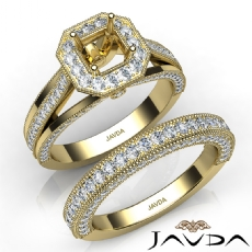Pave Diamond Engagement Ring Bridal Sets 14k Gold Yellow Asscher Semi Mount  (1.7Ct. tw.)