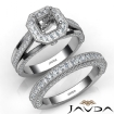 Pave Diamond Engagement Ring Bridal Sets 14k White Gold Asscher Semi Mount 1.7Ct - javda.com