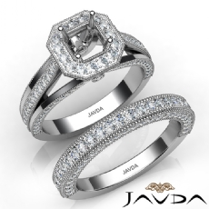 Pave Diamond Engagement Ring Bridal Sets 14K W Gold Asscher Semi Mount 1.70Ct.