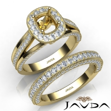 Pave Diamond Engagement Ring Bridal Sets 14k Gold Yellow Cushion Semi Mount  (1.7Ct. tw.)