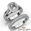 Pave Diamond Engagement Ring Bridal Sets 14k White Gold Cushion Semi Mount 1.7Ct - javda.com