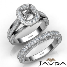 Pave Diamond Engagement Ring Bridal Sets 14K W Gold Cushion Semi Mount 1.70Ct.