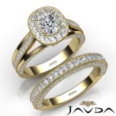 Milgrain Trio Shank Bridal Cushion diamond engagement Ring in 14k Gold Yellow