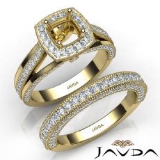 Pave Diamond Engagement Ring Cushion Semi Mount Bridal Sets 14k Gold Yellow   (1.7Ct. tw.)