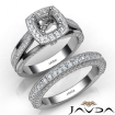 Pave Diamond Engagement Ring Cushion Semi Mount Bridal Sets 14k White Gold  1.7Ct - javda.com