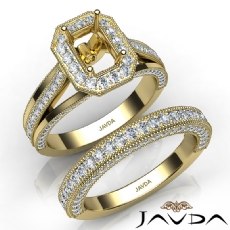 Pave Diamond Engagement Ring Bridal Sets 14k Gold Yellow Emerald Semi Mount  (1.7Ct. tw.)
