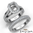 Pave Diamond Engagement Ring Bridal Sets 14k White Gold Emerald Semi Mount 1.7Ct - javda.com