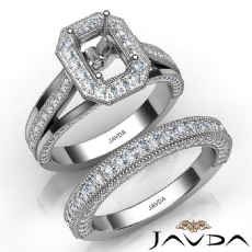 Pave Diamond Engagement Ring Bridal Sets 14K W Gold Emerald Semi Mount 1.70Ct.