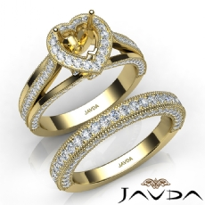 Pave Diamond Engagement Ring Bridal Sets 14k Gold Yellow Heart Semi Mount  (1.7Ct. tw.)