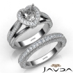 Pave Diamond Engagement Ring Bridal Sets 14k White Gold Heart Semi Mount 1.7Ct - javda.com