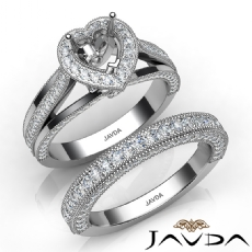 Pave Diamond Engagement Ring Bridal Sets 14K White Gold Heart Semi Mount 1.70Ct.