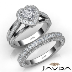 Halo Milgrain Edge Bridal Set Heart diamond engagement Ring in 14k Gold White