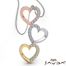 Round Diamond Heart Pendant 14K Tri Color Gold (0.19 ct tw)
