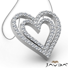 Round Diamond Heart Pendant 18k Gold White  (1.36Ct. tw.)