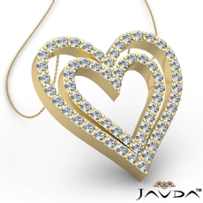 Round Diamond Heart Pendant 14k Gold Yellow  (1.36Ct. tw.)