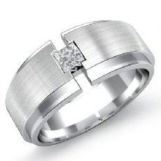 Matte 0.25 Ct Solitaire Princess Diamond Men's Half Wedding Band 14k White Gold