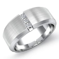 Matte 3 Stone Princess Diamond Men's Half Wedding Band 14k White Gold 0.25 Ct